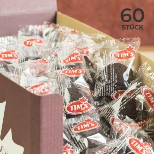 60 Mini Brownies Schokolade Tims Kanadische Backwaren mit Verpackung als Vorteilspack