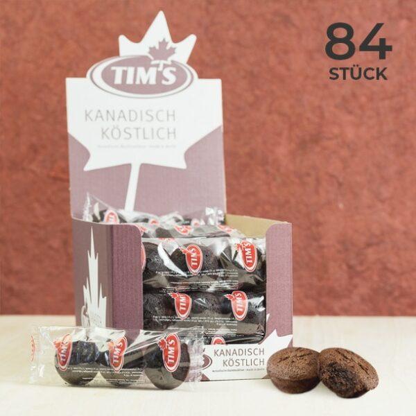84 Mini Brownies Schokolade Tims Kanadische Backwaren mit Verpackung als Vorteilspack